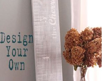 Design your own Distressed Growth Chart - Wood Growth Chart - Personalized Growth Chart - Vintage Style Ruler Chart - Over sized Ruler