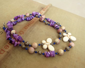 Long Vintage Agate Necklace Crystal Necklace Gemstone Purple Fuchsia ivory Butterfly, Stiped Brown Beige and Tan beads, 70s Gift for Her Mom