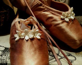 Ballet Pointe Shoes by Freed Verigated Faded Antique Copper Satin Shabby & Chic
