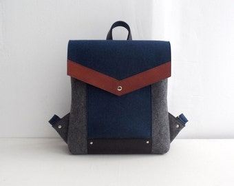Dark Blue Gray Black Brown Felt Leather Backpack