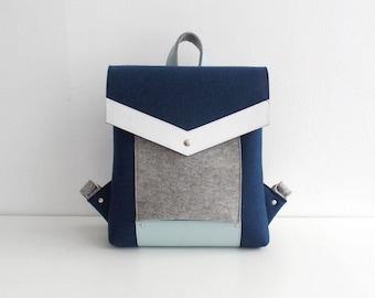 Navy Blue Gray White Felt Leather Backpack