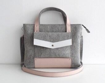 Felt Leather Handbag Gray Pink White
