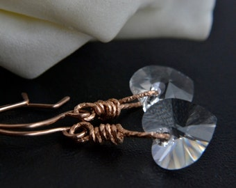 Crystal Heart Earrings, 14K Rose Gold Filled, Swarovski Crystal, Handmade, Rose Gold Jewelry, Happy Cats Designs