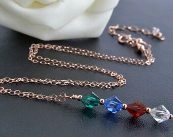 Birthstone Necklace, 14K Rose Gold Filled, Swarovski Crystal, Handmade, Rose Gold Jewelry, Custom Made