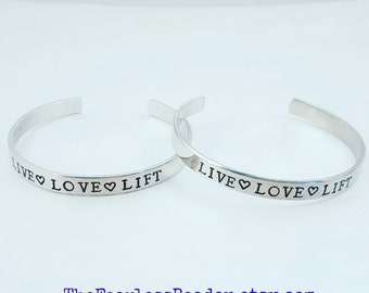 Live Love Lift Bracelet, Workout Bracelet, Fitness Bracelet, Aluminum Cuff Bracelet, Bodybuilder Jewelry, Weightlifting Jewelry, Workout