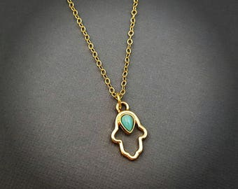 Gold Hamsa Necklace with Turquoise, Hamsa, Yoga, Zen, Layering Necklaces, Yoga Jewelry, Hamsa Jewelry, Protection, Meditation, Boho Jewelry