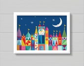Original Color It's A Small World Children Castle Moon and Stars CUSTOMIZABLE sizes and colors - Digital Instant Download for Printing