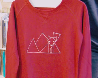 Sweatshirt Fox / women & men / burgundy coloured