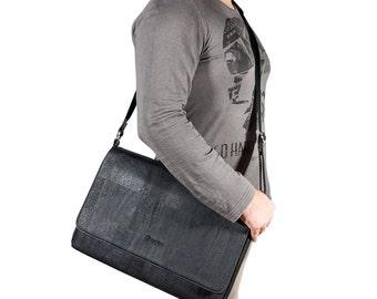 """Messenger Bag for Men - Laptop briefcase for 15"""" Laptop in cork - Vegan Gifts (CK148)"""