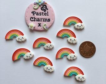 Pack of 8 resin rainbow happy cloud embellishments