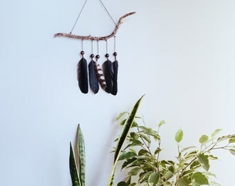 Feather mobile - Native Australian bird feathers Raven driftwood hanging mobile- Limited edition