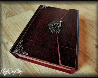 Diary or Book of Shadows ANCIENT RED LOCK - different colors and customizable - medium size 8,67x5,91 inch (22x15 cm)