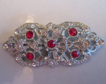 Vintage Art Deco Red and Clear Rhinestone Valentine's Day Brooch in Silver Setting, Antique Red Brooch, Mother's Day Gift, Valentine Gift
