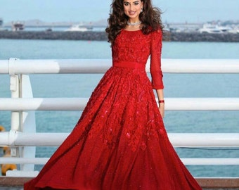 Indian/pakistani red dress, red gown, wedding dress, Pakistani clothing, valentine red dress