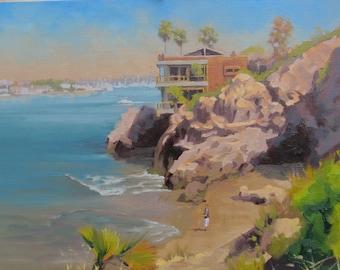 Newport Beach - Plein Air - Seascape - California - Coast - Coastline - Beach - Sea - Oil Painting - Rocks - Cliffs - Perch - Harbor - Bay