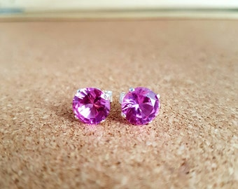 Sapphire earrings Stud earrings Pink sapphire earrings Gemstone earrings Bridal earrings Sapphire jewelry Birthstone earring Sapphire
