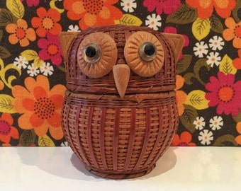 Vintage Retro Owl Basket Cute Kitsch Retro
