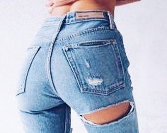 Cheeky Distressed jeans /Sexy grunge jeans/mom jeans/kylie Jenner/plus size/S-XXL/All Brands/levis lee wrangler/boyfriend jeans