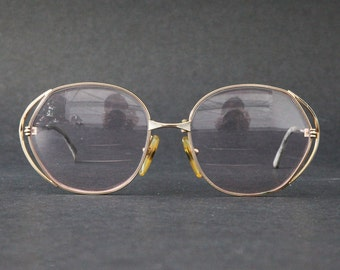 Vintage CHRISTIAN DIOR CD Womens Rx glasses Gold Over Sized Frame 80s Made in Germany