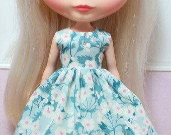 BLYTHE doll Its my party dress - LIBERTY Mitsi snow blossoms on teal