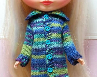 BLYTHE doll hand knit long sweater coat - blue teal sparkle