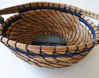 Blue Basket Blue Pine Needle Basket With Handles Native American Basket For Him Gift Basket For Her Wedding Basket Housewarming Basket