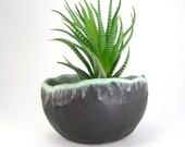 Black Succulent Pot, Glazed Bonsai Pot, Kusamono, Turquoise and Black Pinch Pot, Small Round Bonsai Accent Handmade Ceramic Planter 07-16-08