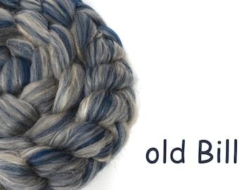 Blended roving - Merino - Tussah silk - 100g/3.5oz - blue - OLD BILL