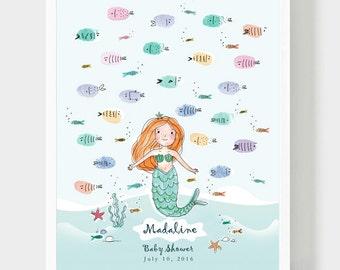 Red Hair Mermaid Baby Shower, Girl Birthday Thumbprint Guest book, Mermaid & Fish In Sea Handmade Drawing, Baptism Personalized Gift, PDF