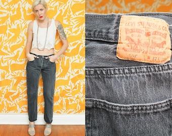 Levi 501 // Black Denim Jeans // 32 x 32 Straight Leg Boyfriend Button Fly Womens Size 6 8