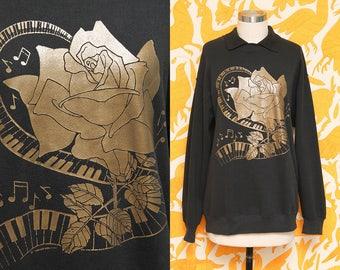 Hipster Sweatshirt // Rose Metallic Sweater // 80s Collared Gold Music Keyboard Piano Air Waves Novelty Print 1989 Size Medium Large