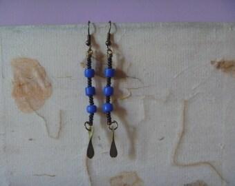 blue, black and bronze drop earrings, ecofriendly dangle earrings