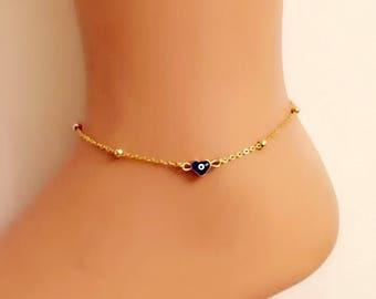 Evil Eye Heart Charm , Gold Plated Anklet, Evil Eye Anklet, Heart Amulet Bracelet, Evil Eye Charm, Summer Elegant  Anklet, Gift for friend