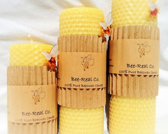 """100% Pure Beeswax Solid Pillar Candle with Honeycomb 4""""x2"""""""