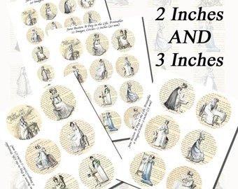 Jane Austen's World--Regency Fashions Printables, Part 2, EXTRA LARGE CIRCLES, 1.5 inch, 2 inch, and 3 inch circles  (38mm, 50mm, and 75 mm)