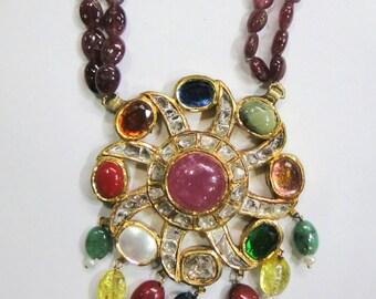 Vintage antique solid 20K Gold jewelry navaratan gemstones Necklace pendant