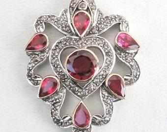Victorian Diamond Natural Rubellite Gold Silver Pendant