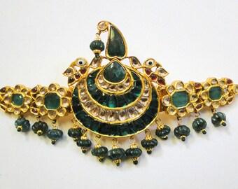 Rare! Vintage antique 22k Gold jewelry Diamond 'Sarpech' turban ornament