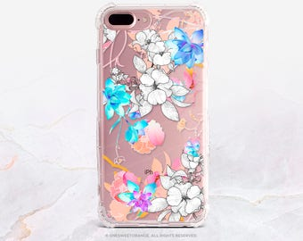iPhone 8 Case iPhone X Case iPhone 7 Case Floral Clear GRIP Rubber Case iPhone 7 Plus Clear Case iPhone SE Case Samsung S8 Plus Case U234