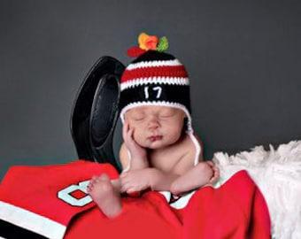 BABY HOCKEY HAT Black Red Hockey, Knit Hockey Baby Hat, Crochet Hockey Hat, Hockey Baby Crochet, Newborn Hockey Gift, Grandmabilt Crochet