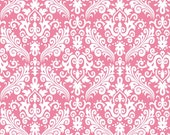 Damask Fabric/White on Pink Basic/Riley Blake/Cotton Yardage/Clothing, Craft, Quilt/Fat Quarter, Half, By the Yard, Choose your Yardage