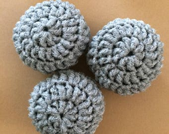 Nylon Net Scrubbies - Gray - Set of 3 Scrubbers