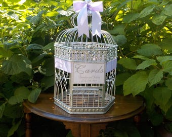 Bird Cage Wedding Card Holder Ivory Gold Silver Birdcage
