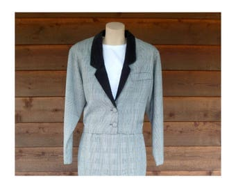 Vintage 1980s Houndstooth B+W Checked Jacket with Corduroy lapel, StreetWear Ltd, Size XS-S