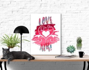Love Is In The Air | Digital Illustration | Instant Download Digital File | You Print at Home | Digital Art | Ombre Pink Illustrations Art
