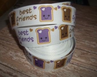 Best Friends - Peanut Butter and Jelly Grosgrain Ribbon
