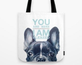 Tote bag French Bulldog, original painting print on both sides with typography