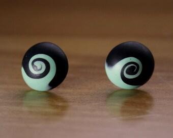 Aqua and Black Swirled Clay Post Earrings