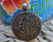 RESERVED Kali pendant old brass amulet with silver casing Krishna, Radha Indian hindu vintage