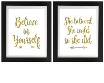 GRADUATION PRINT, Believe in Yourself print, She believed she could so she did, Dorm Room Decor, Motivational Print, Encouragement print